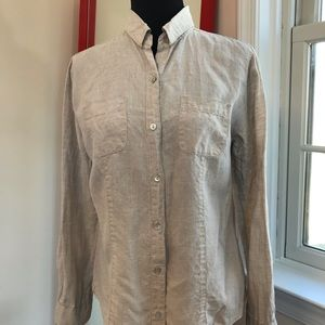 Lord & Taylor linen button down roll up sleeves
